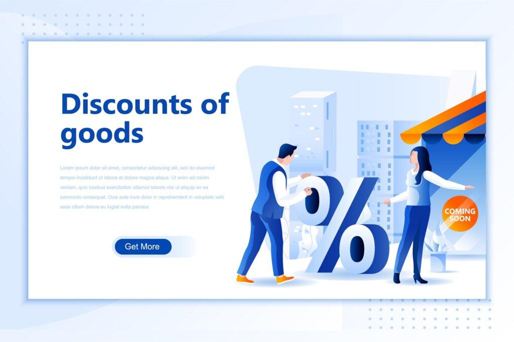 商品折扣网页设计模板素材Discounts Goods Flat Landing Page Header插图