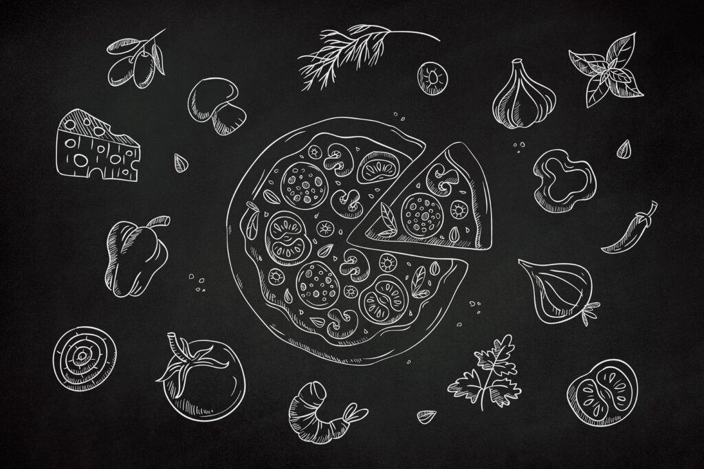 黑白线稿批萨剪贴画装饰图案纹理素材下载Drawn Pizza Clipart  AE427C插图