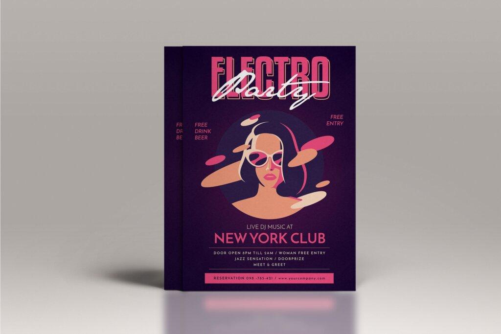 场景式电子音乐派对传单海报Electro Party Flyer JXHDF8插图