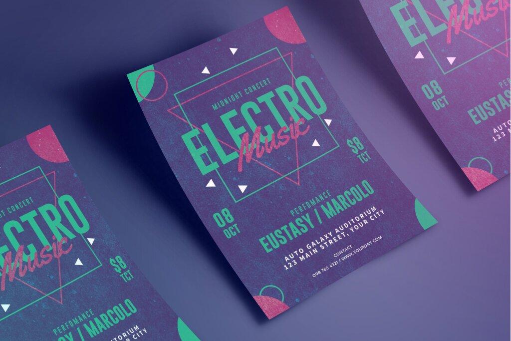 精致文艺电子音乐节日传单海报模板素材下载Electro Party Flyer MSDWUS插图