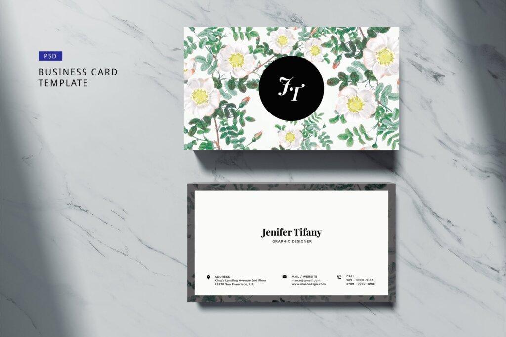高端简约绿植名片模板素材下载Elegant Business Card Flower 3插图