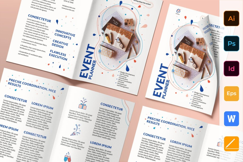 活动策划手册折页折页模板素材下载Event Planner Brochure Bifold插图