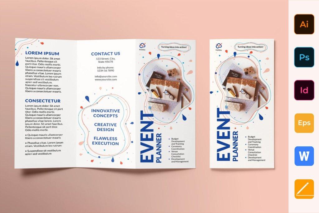 简约文艺时尚风格宣传活动折页模板Event Planner Brochure Trifold插图