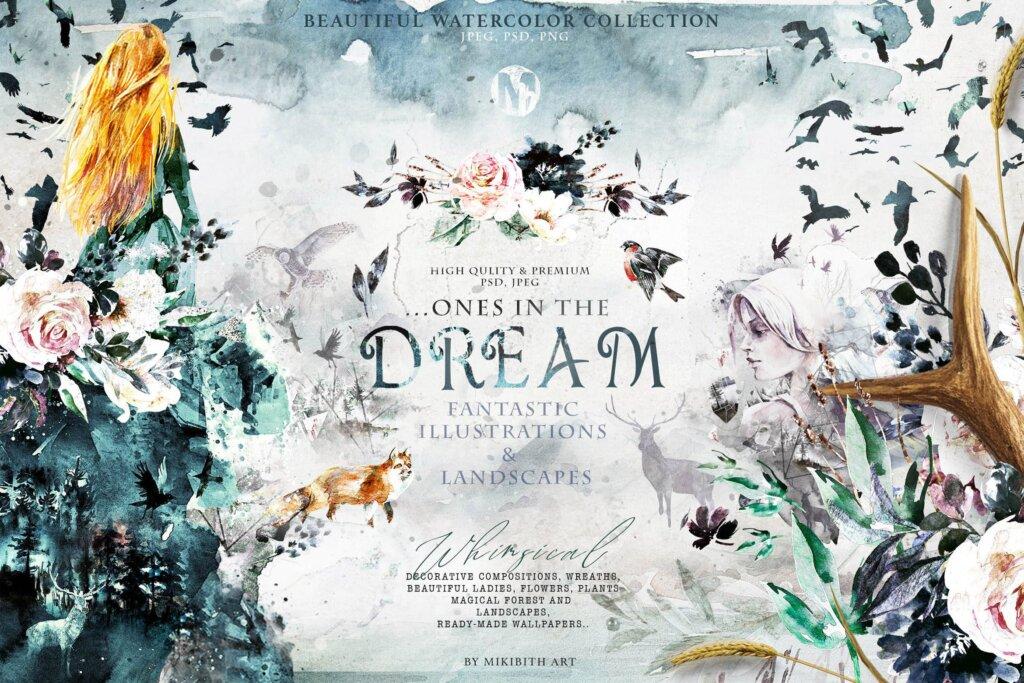 "花环和框架林地和森林装饰图案素材模版下载Fantasy illustrations ""Once in the dream""插图"