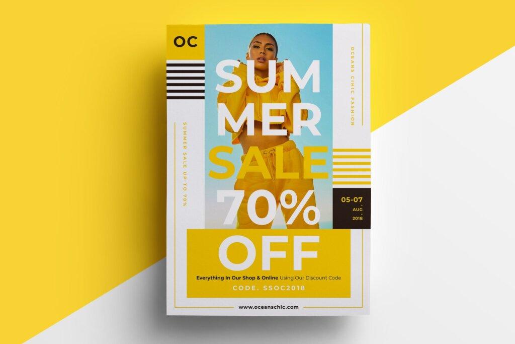 夏季促销时尚行业服装行业大促销海报传单模板素材下载476JFF插图