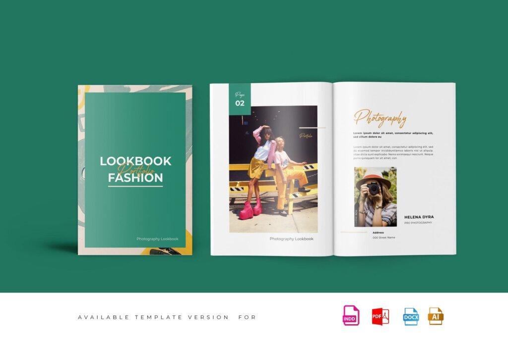 时尚行业打印模板画册模板素材下载Fashion Lookbook Portfolio插图
