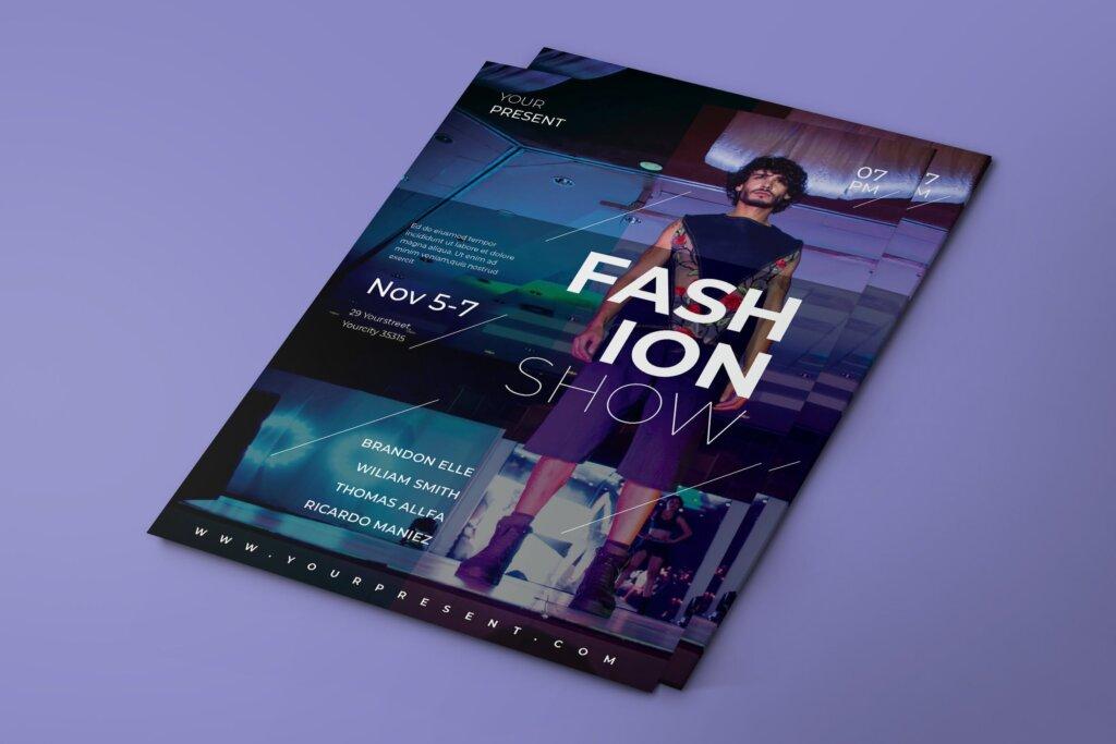 时尚健身海报传单模版素材下载Fashion Show Flyer BNHDU7G插图