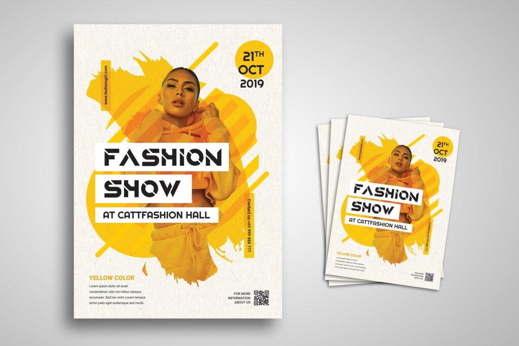 清新优雅时装表演宣传单海报模板素材Fashion Show Flyer Promo Template插图