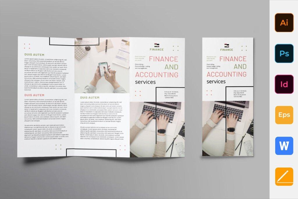 商务时尚现代产品宣传这模板素材下载Finance and Accounting Brochure Trifold插图