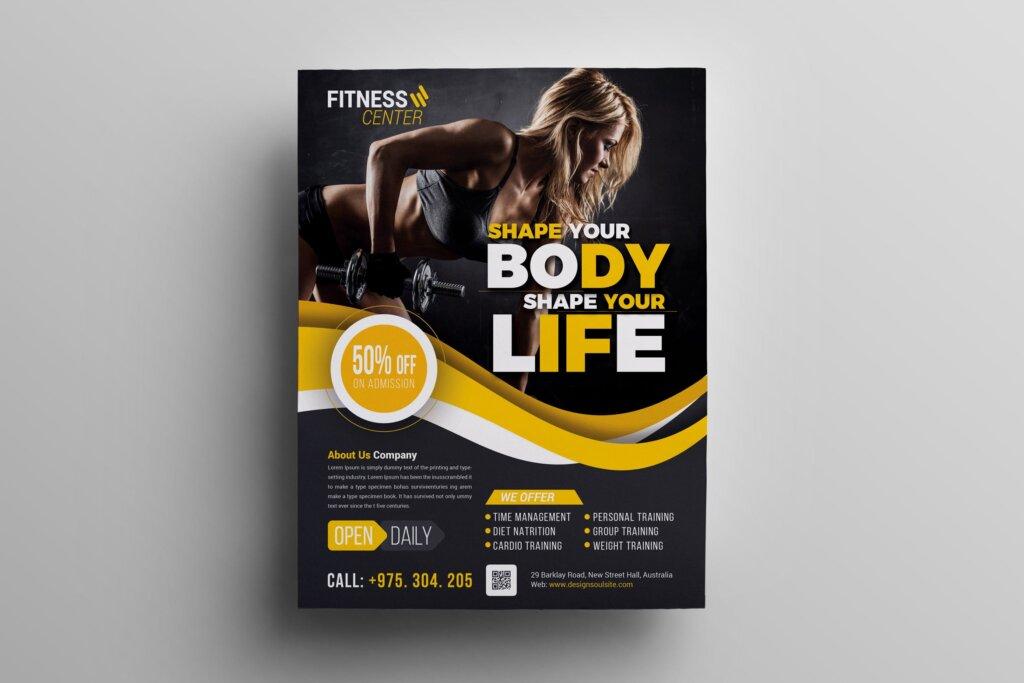 健身房互动派对海报传单模板素材下载Q9PCNB插图
