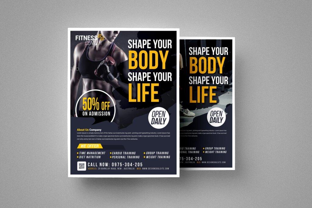 精致文艺健身房海报传单模板素材下载EY65CP插图