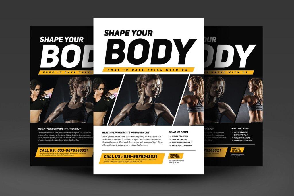 健身房和运动俱乐部宣传单海报模版素材下载KTZSLJ插图