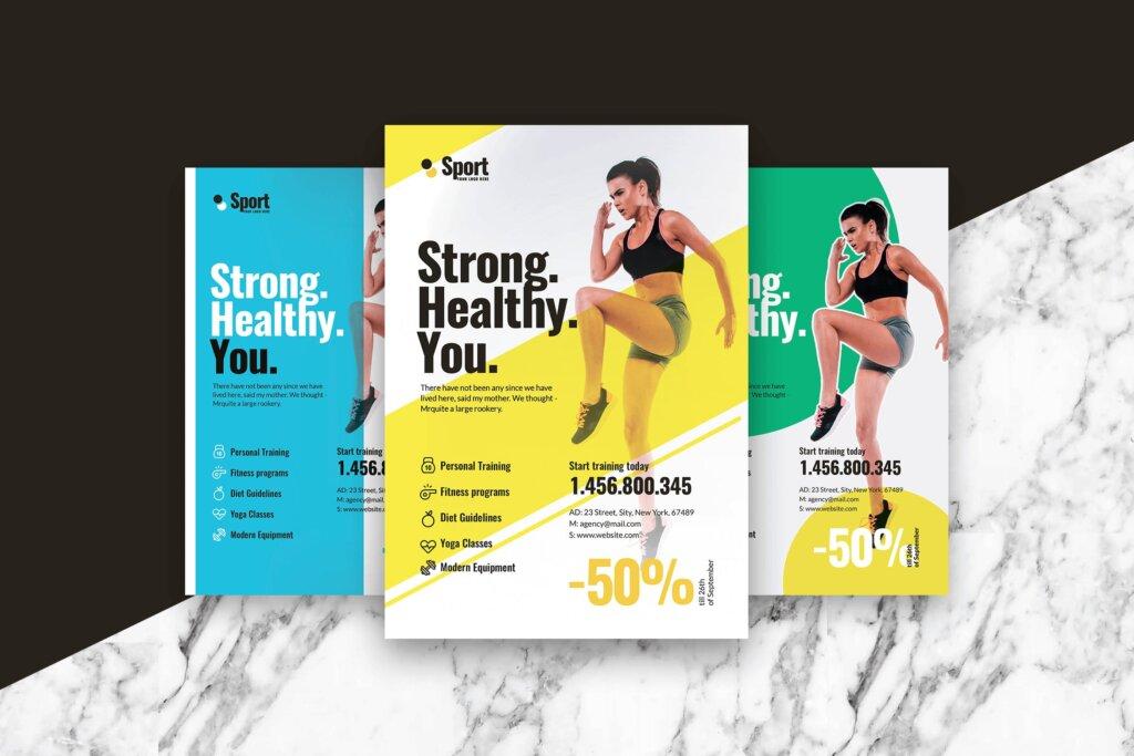 高端现代简约运动瑜伽海报传单模版素材97R6D5插图