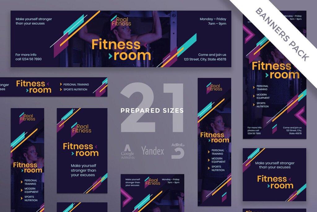 健身房行业邀请函礼品标签海报模版素材下载Fitness Gym Banner Pack Template插图