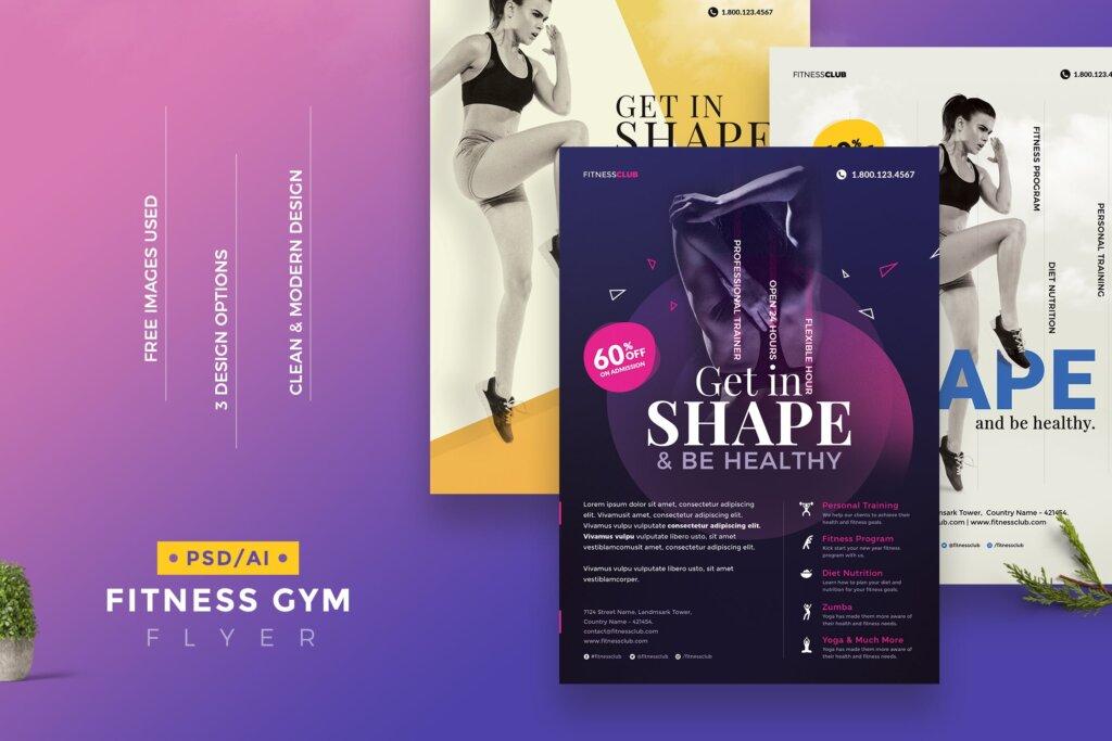 高质量的健身/瑜伽健身运动海报传单模板Fitness Gym Flyer Template插图