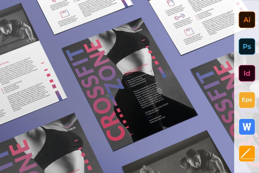 健身房瑜伽俱乐部活动宣传海报模版素材下载Fitness Studio Flyer插图