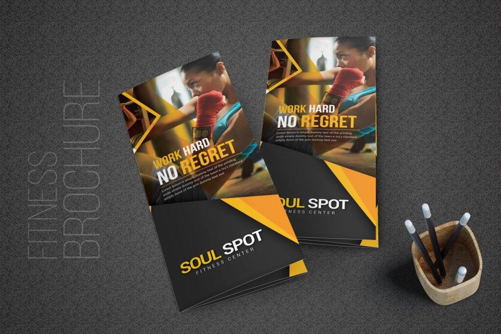 健康与健身手册折页模版素材下载Fitness Tri Fold Brochure插图