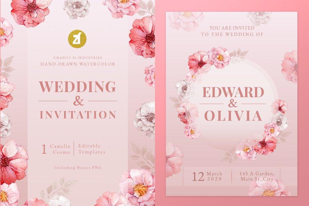 唯美邀请函模版素材下载Floral Hand-drawn Watercolor Wedding Invitation插图