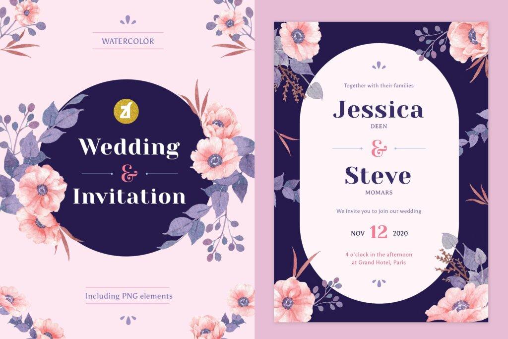 手绘花卉水彩婚礼请柬传单海报模板Floral Hand-drawn Watercolor Wedding Invitation 4SEFG25插图