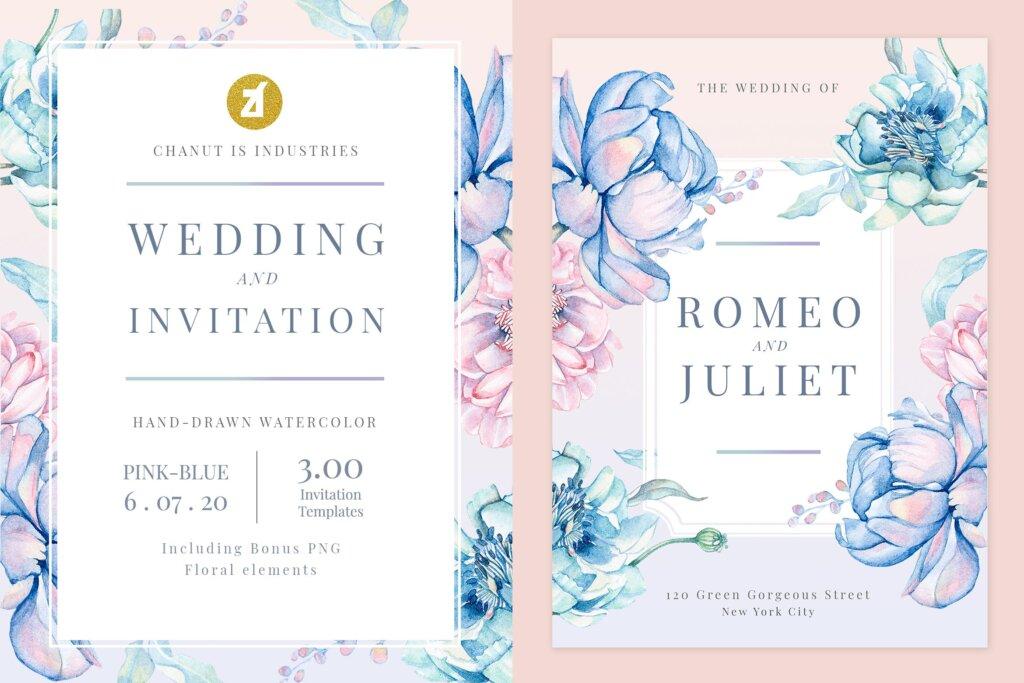 蓝粉红色手绘水彩画传单海报模板Floral Hand-drawn Watercolor Wedding Invitation EFMSCVH插图