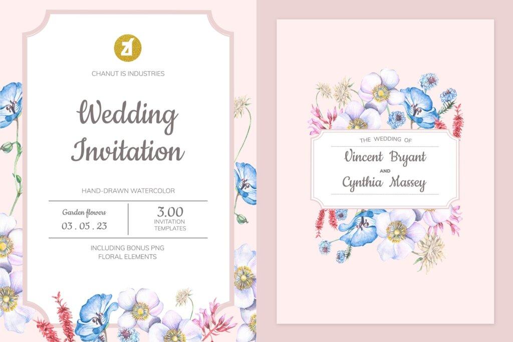 婚礼海报易拉宝素材模板素材下载Floral Hand drawn Watercolor Wedding Invitation BPSRDN3插图