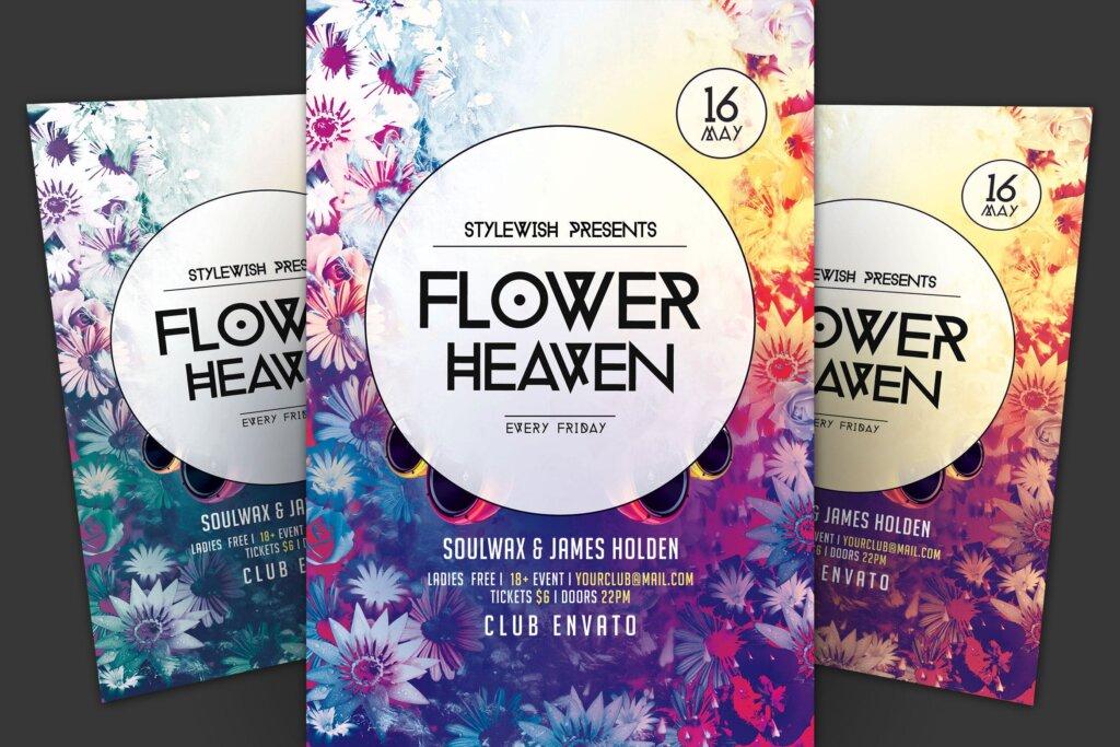 海滩派对俱乐部海报传单模版素材下载Flower Heaven Flyer插图