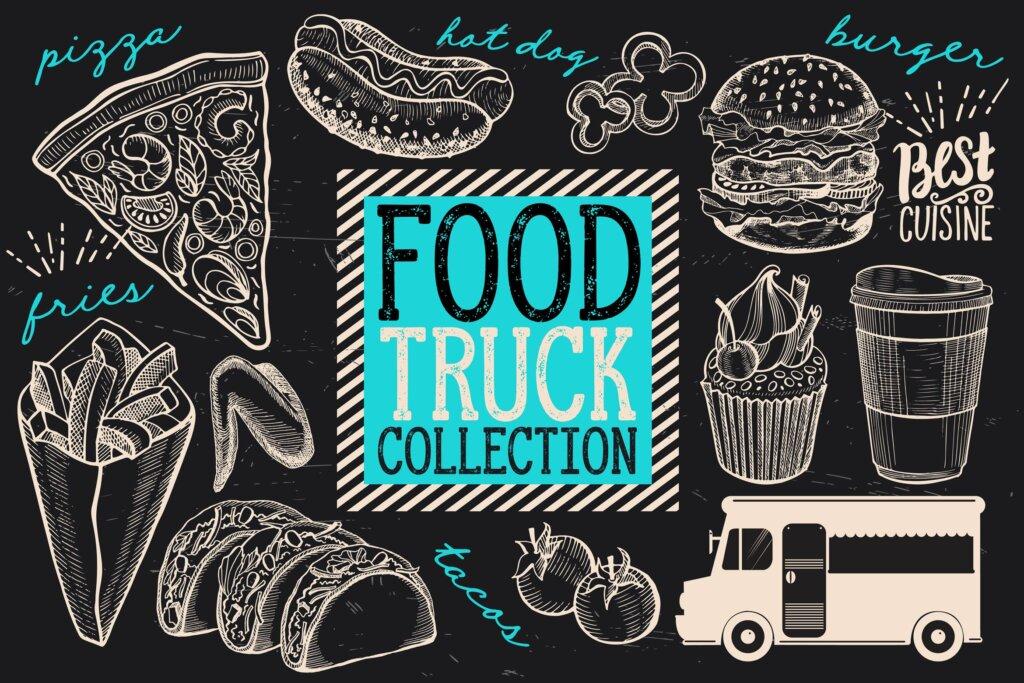 黑白手绘涂鸦街头食品/食品卡车涂鸦元素装饰图案纹理素材Food Truck Elements VBXFC6插图