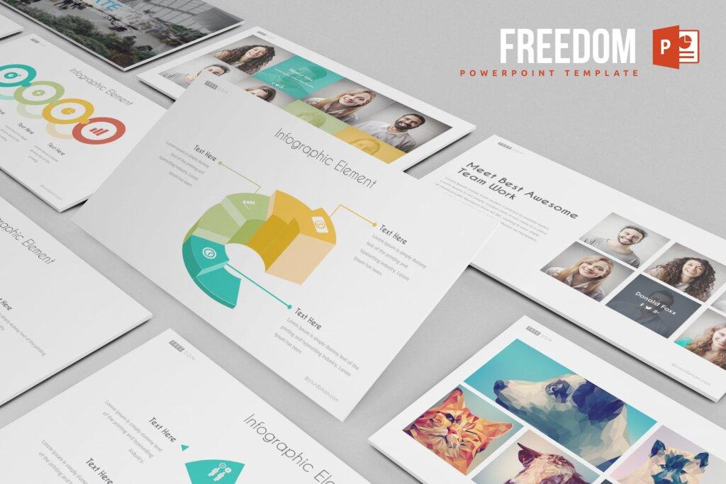 商业概念宣讲主题幻灯片模版素材下载Freedom Powerpoint Template插图