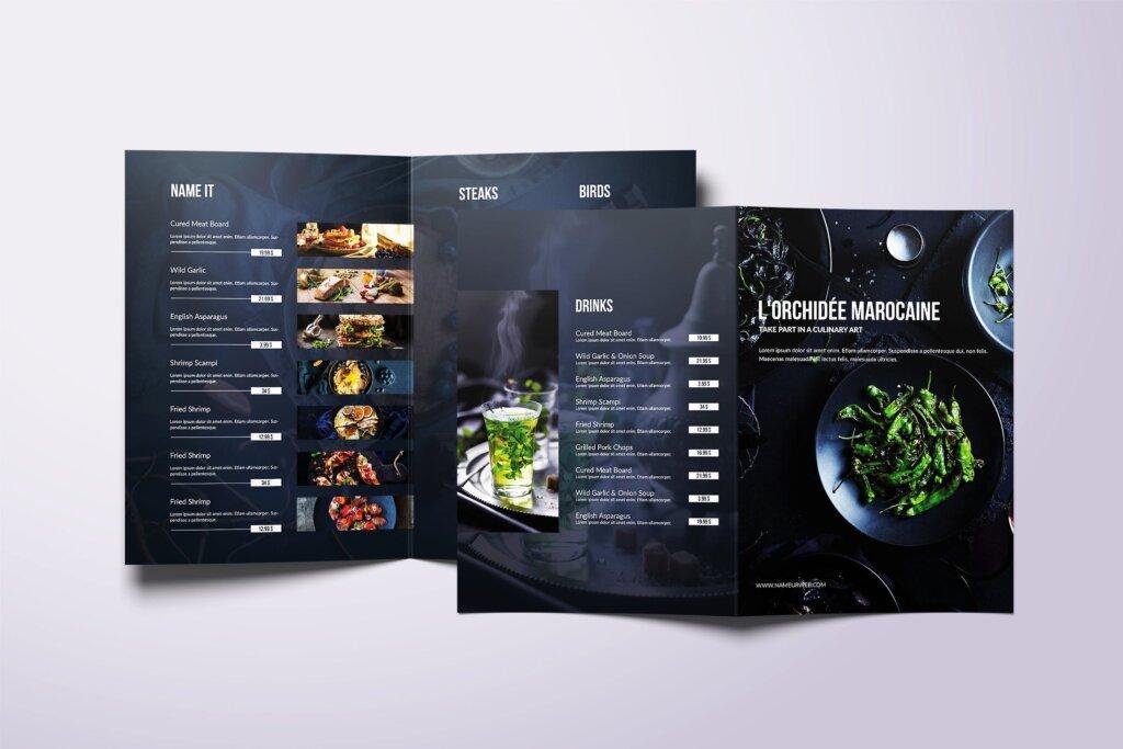 黑色主题西餐美食料理菜单/折页模板素材下载Fresh Minimal Bifold A4 US Letter Food Menu插图