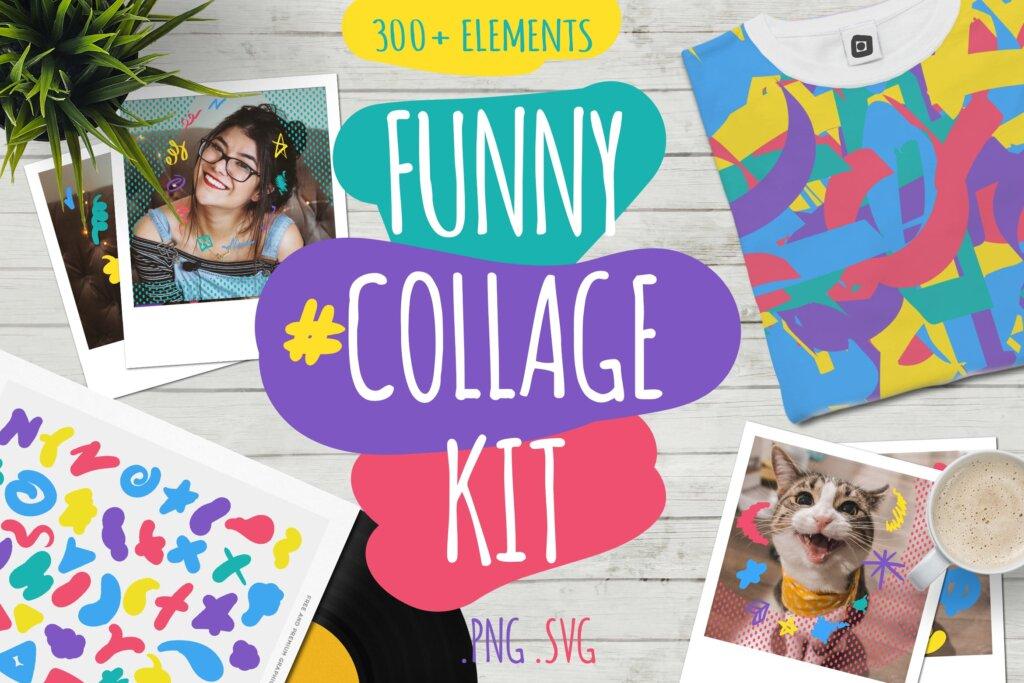 马卡龙剪贴画/渐变图案纹理素材下载Funny Collage Kit插图