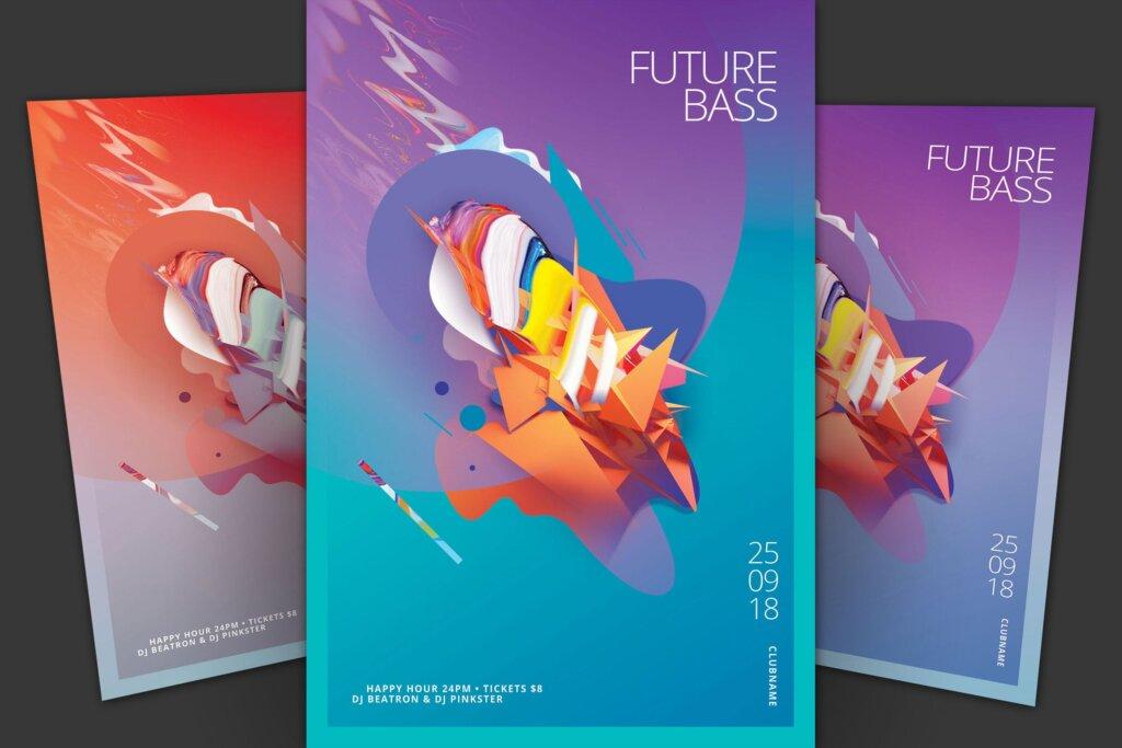 夏季活动五彩缤纷夏日活动派对传单模板素材下载Future Bass Flyer插图