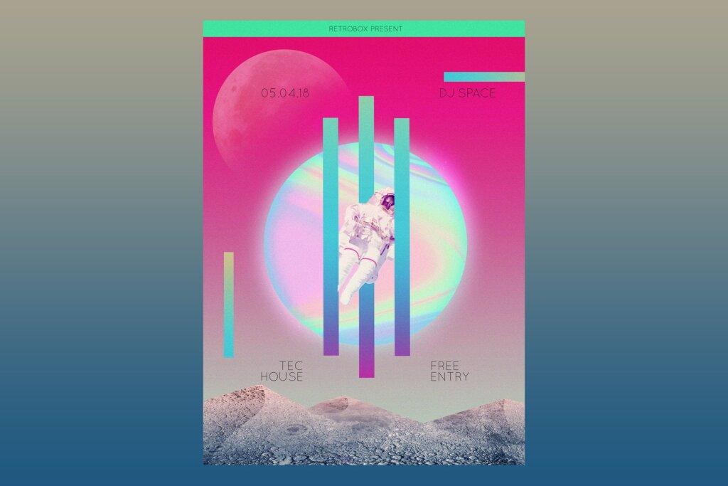 音乐盛会传单海报模版素材下载Galaxy Sounds Flyer Poster插图