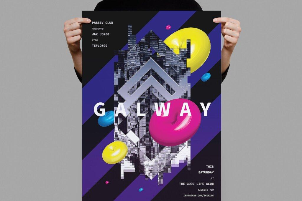 城市几何空间装饰图案传单海报素材下载Galway Poster Flyer插图