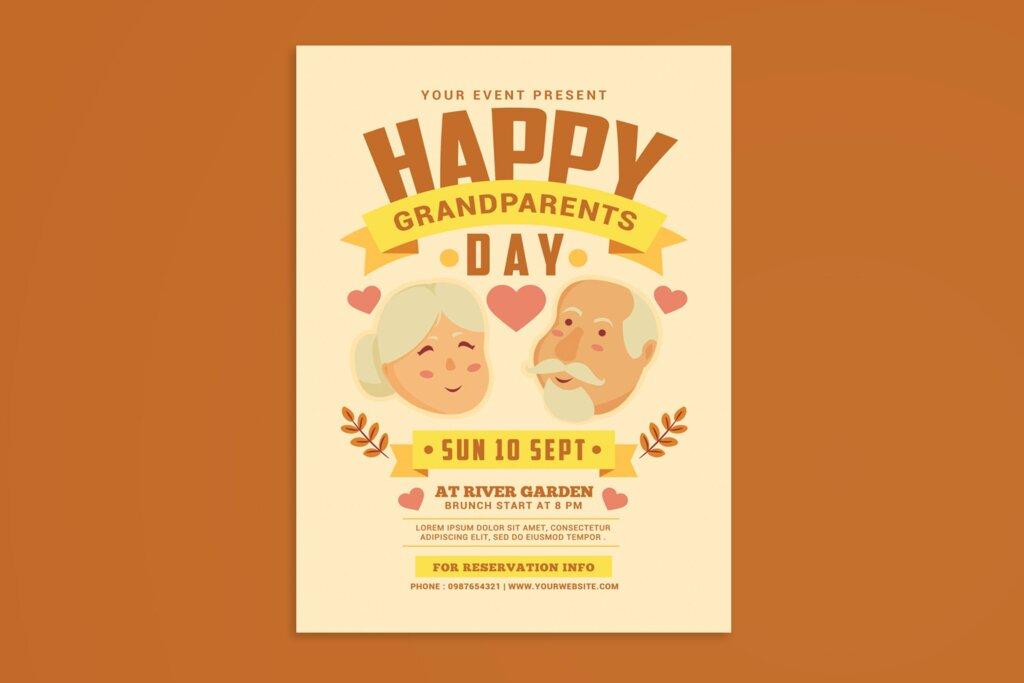 感恩节日活动海报传单模版素材下载Grandparents Day Flyer插图
