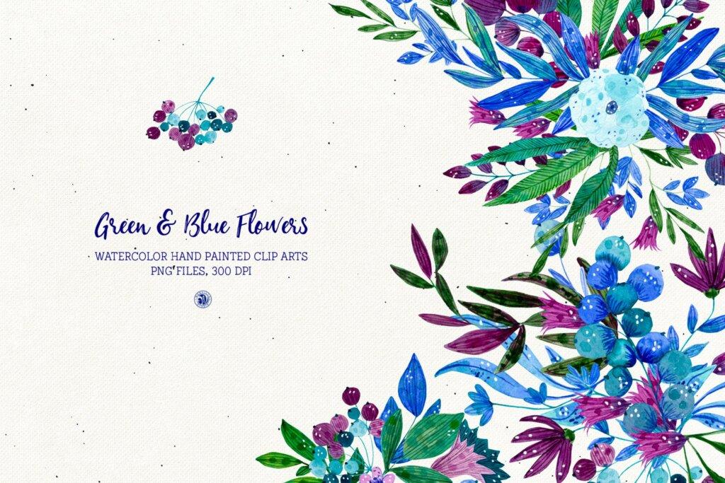绿色和蓝色的花手绘水彩花/邀请函贺卡装饰图案素材模板下载Green and Blue Flowers插图