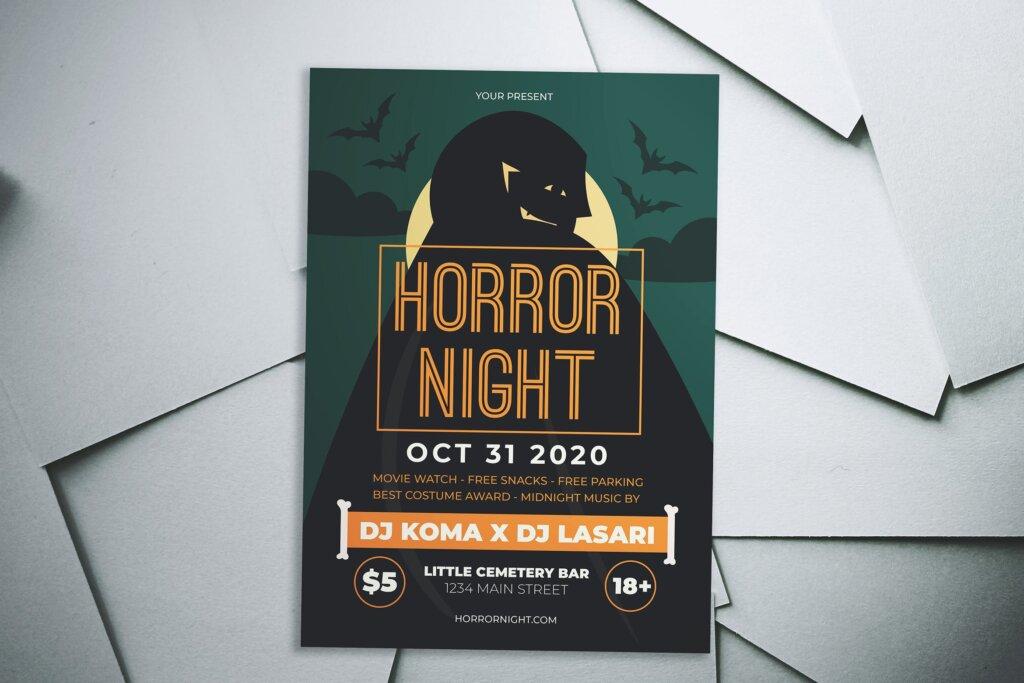 万圣节恐怖夜创意传单海报模板素材下载Halloween Horror Night Flyer插图