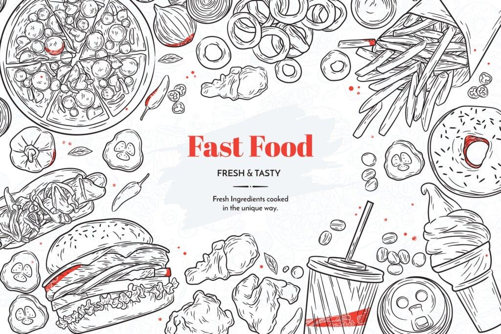 矢量手绘快餐元素图案纹理素材模版Hand Drawn Fast Food Elements插图