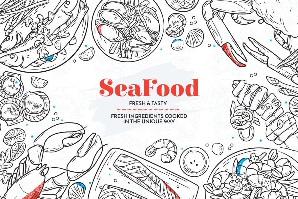 美食手绘海产线性矢量插画纹理素材Hand Drawn Sea Food Elements插图