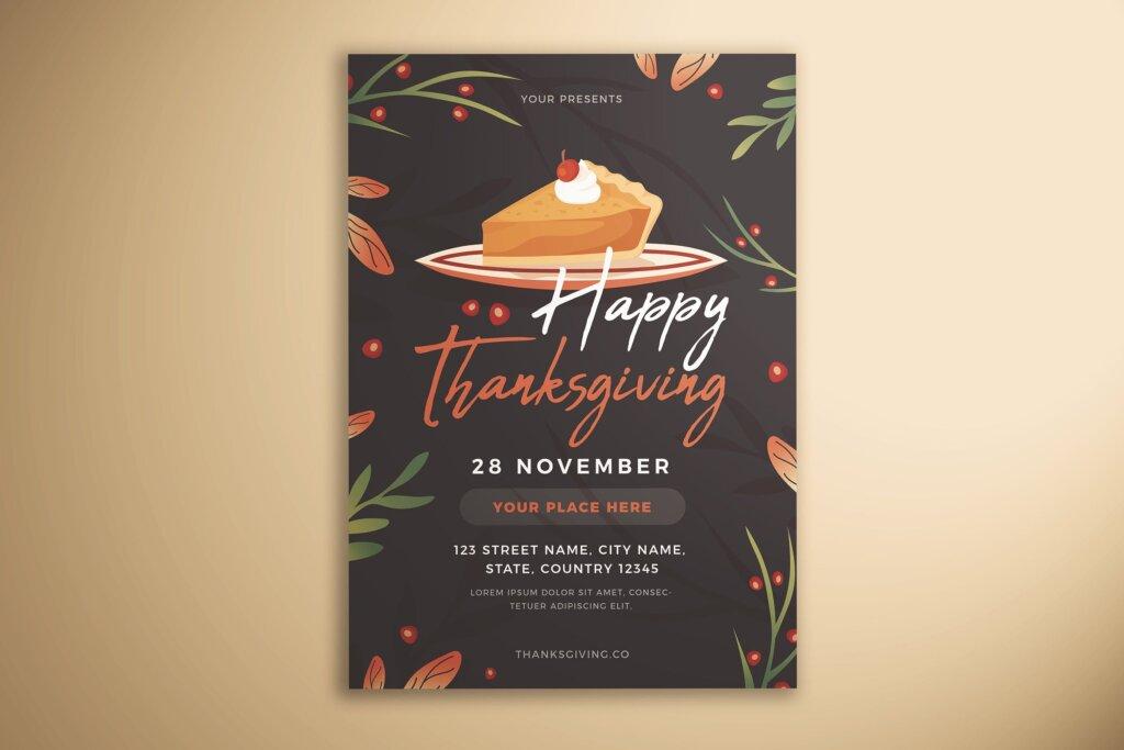 感恩节快乐传单海报模版素材下载Happy Thanksgiving Flyer插图