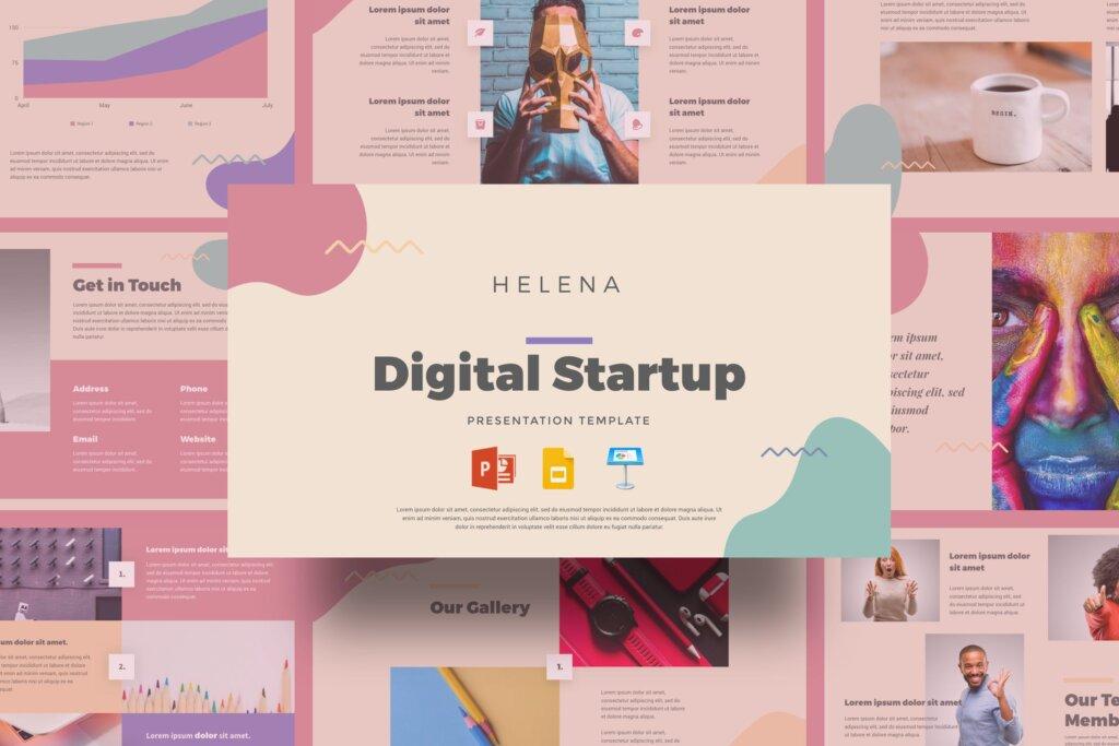 时尚艺术行业主题宣讲幻灯片ppt模版Helena Digital Startup Presentation Template插图