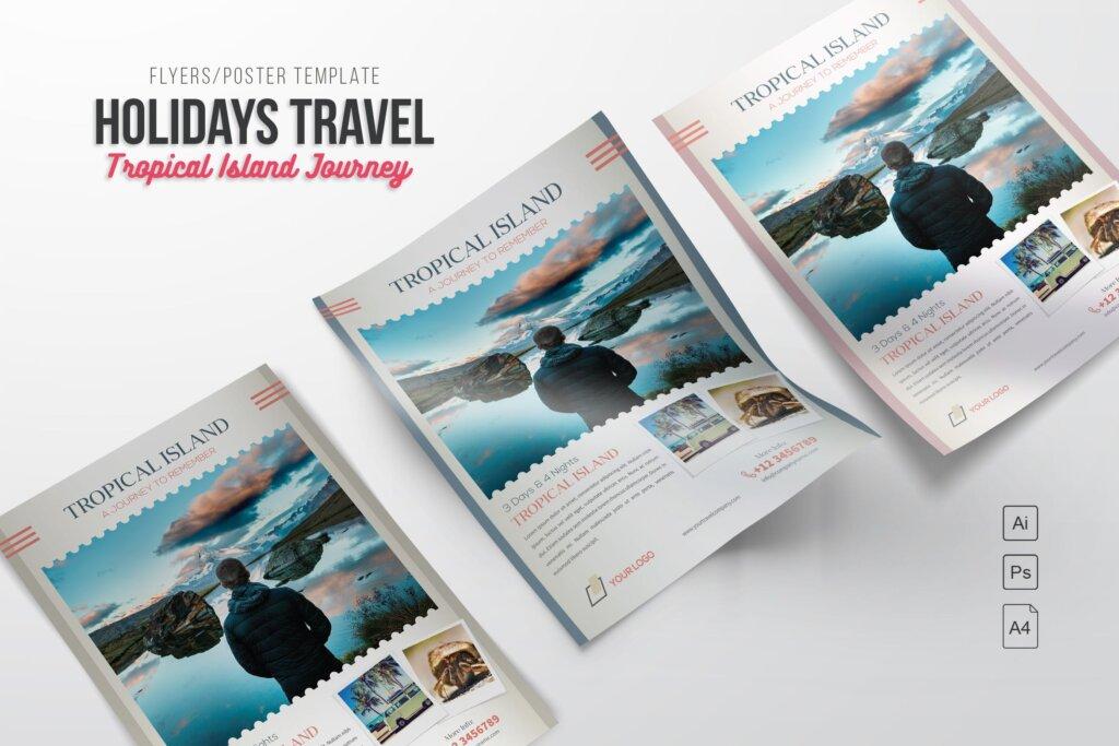 假日旅行热带岛屿旅行传单海报模板素材Holiday Travel Journey Flyers RX65B8插图