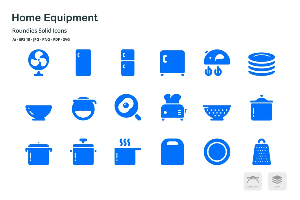 智能家庭设备希系列图标源文件图标素材下载Equipment Roundies Solid Glyph Icons插图