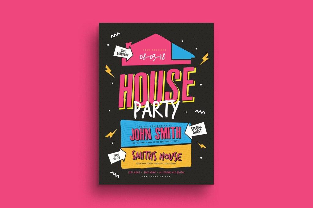 家庭圣后派对创意海报传单模板素材House Party Flyer插图