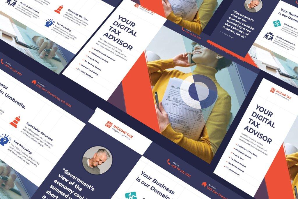 税务财务类商业财务宣传传单模板素材下载插图