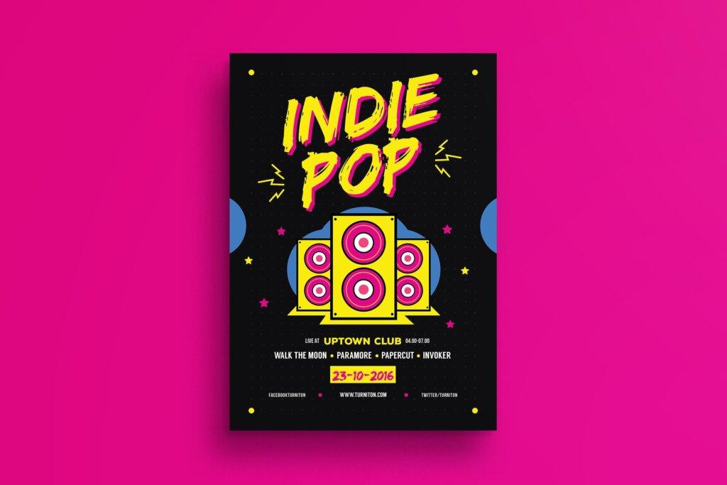 POP创意海广告报传单模板素材下载Indie Pop Music Flyer插图