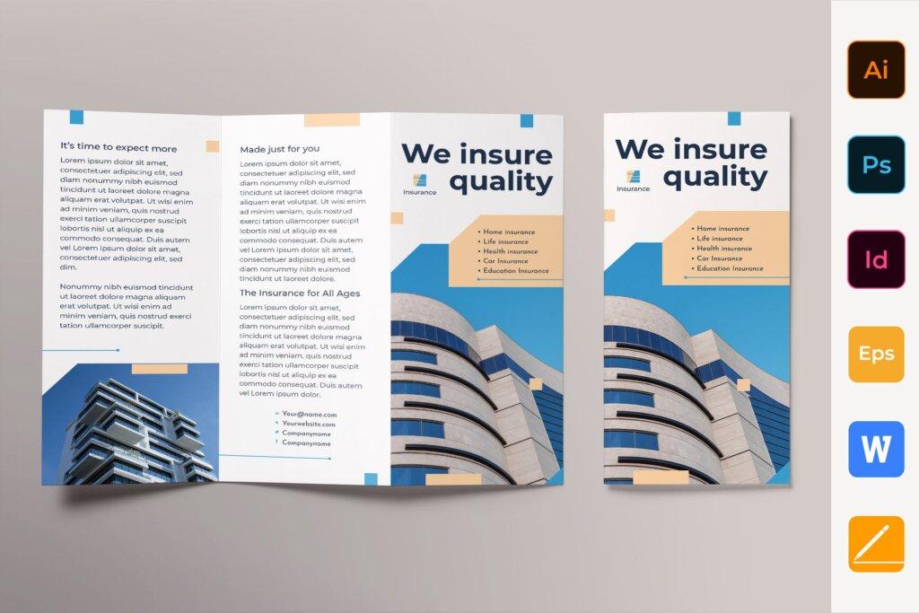 金融保险公司折页宣传册三折模板素材下载Insurance Agency Brochure Trifold插图