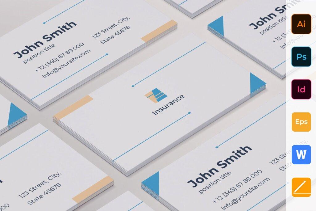 商务简约名片设计模板素材下载Insurance Agency Business Card插图
