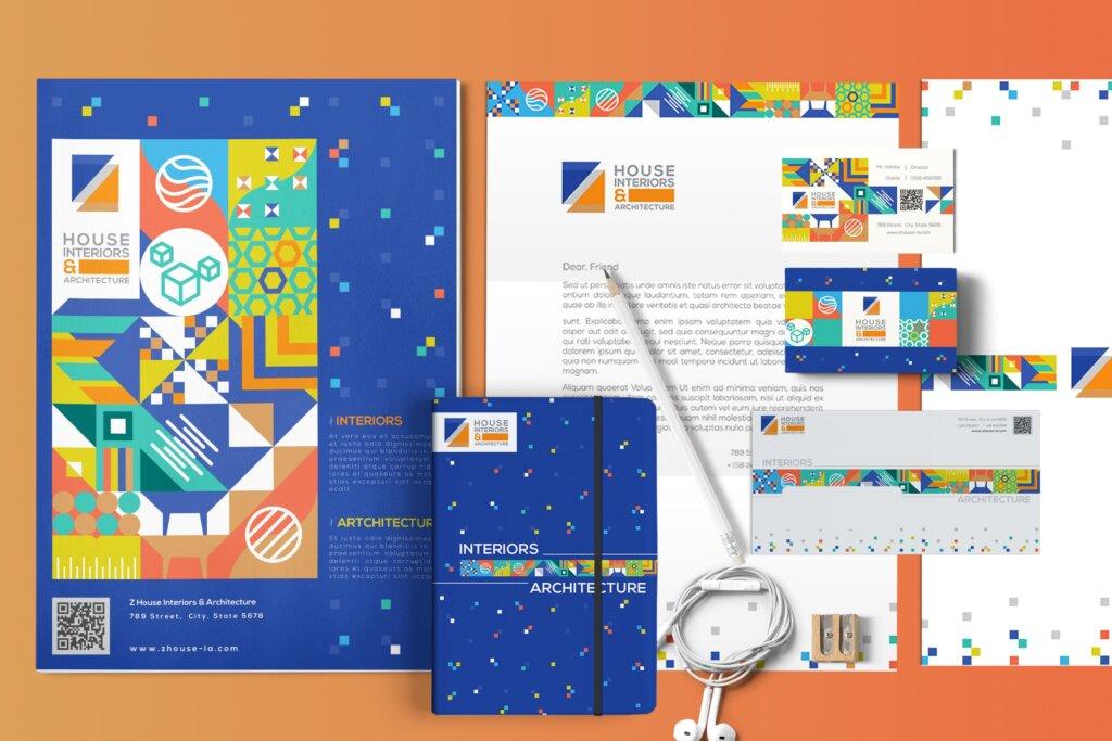几何纹理图案装饰品牌宣传海报传单模板素材下载Interiors & Architecture – Print Pack Template插图