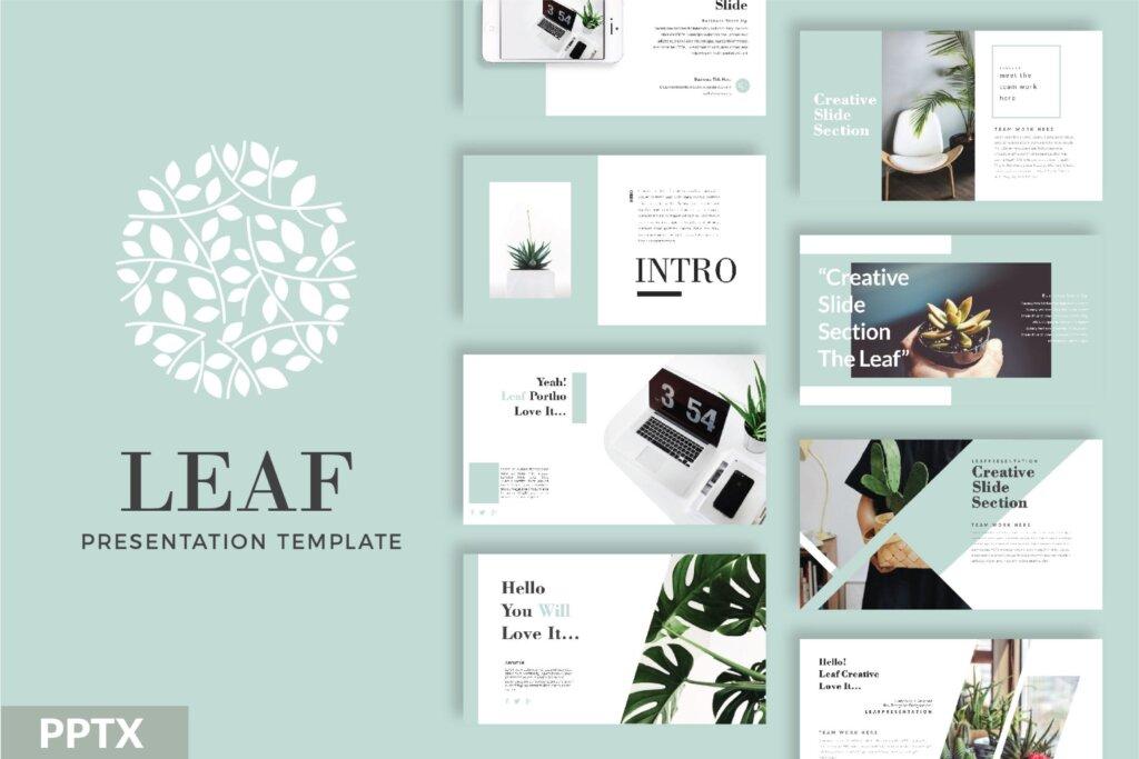 绿色生活概念主题幻灯片PPT模版素材下载LEAF Powerpoint Template插图