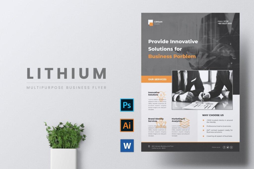企业商务传单海报模板素材下载LITHIUM Multipurpose Business Flyer插图